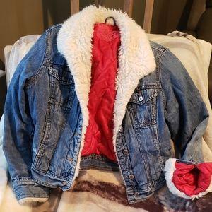 Old school Arizona denim jacket faux fur collarXL